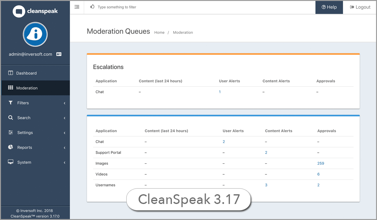 CleanSpeak UI New Moderation